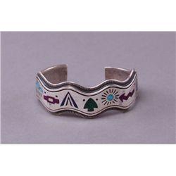 Native American sterling silver and multi color stone