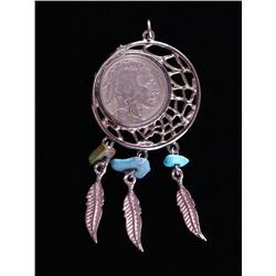 Native American Buffalo Nickel and turquoise