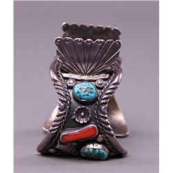 Native American sterling silver watch bracelet with