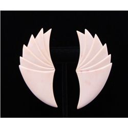 Art Deco ivory earrings.(Size: See last photo for