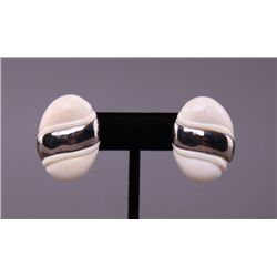 Art Deco ivory earrings with sterling silver.(Size: See