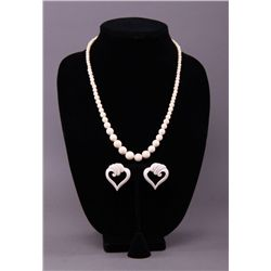Antique Ivory necklace with heart shaped ivory