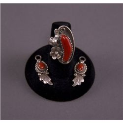 Native American red coral set of ring and