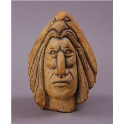 Native American Stone Sculpture of a Warrior with an