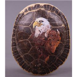 Native American hand painted turtle shell of Bald