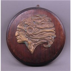 Early 1900's Native American Chief plaque signed