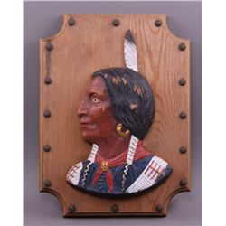 Early to mid 1900's hand painted wood plaque of Native
