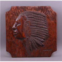 20th Century  hand carved wood plaque of Native