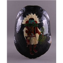 Native American hand painted turtle shell of Kachina.