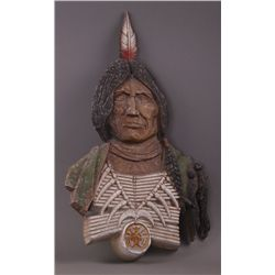 Indian Chief Sexton metal wall plaque, 1970 USA.