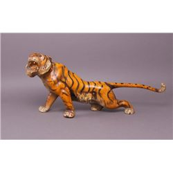 Rare 19th Century Iron Tiger Doorstop with glass eyes.