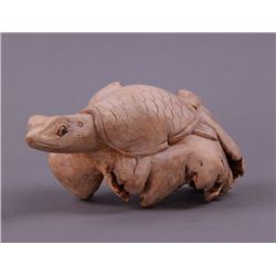 Turtle wood carving from a tree root.(Size: See last