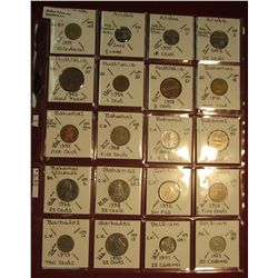"1. (20) World Coins in 2"" x 2"" holders. All identified. Includes Argentina, Aruba, Australia, Bahama"