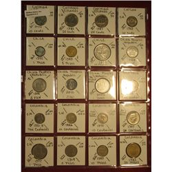 "4. (20) World Coins in 2"" x 2"" holders. All identified. Includes Cayman Islands, Ceylon, Chile, Chin"