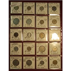 "5. (20) World Coins in 2"" x 2"" holders. All identified. Includes Colombia, Costa Rica, Cuba, Cyprus,"