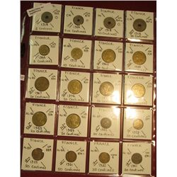 6. (20) Coins from France 5c, 10c, 20c, & 50 Centimes. KM value $8.60.
