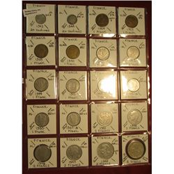 7. (20) Coins from France1 Franc, 2 Francs, & 5 Francs. KM value $20.00.