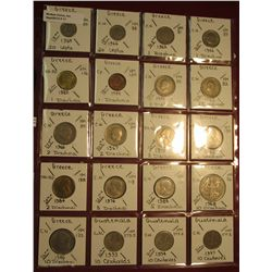 11. (17) Different Greek Coins, & (3) Guatemala. KM value $6.15.