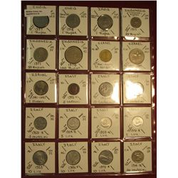 "15. (20) World Coins in 2"" x 2"" holders. All identified. Includes India, Indonesia, Israel, & Italy."