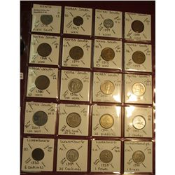 "18. (20) World Coins in 2"" x 2"" holders. All identified. Includes Kenya, South Korea, Kuwait, Lebano"