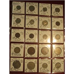 "19. (20) World Coins in 2"" x 2"" holders. All identified. Includes Malaya & Borneo, Malaysia, Mexico,"