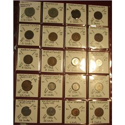 "20. (20) World Coins in 2"" x 2"" holders. All identified. Includes Morocco, Netherlands, Netherlands"