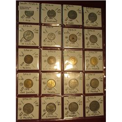 "25. (20) World Coins in 2"" x 2"" holders. All identified. Includes South Arabia & Spain. KM $9.55."