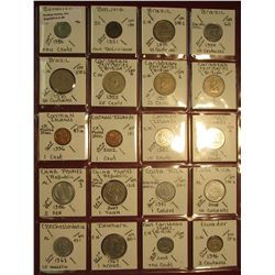 "29. (20) World Coins in 2"" x 2"" holders. All identified. Includes Bermuda, Bolivia, Brazil, Caribbea"