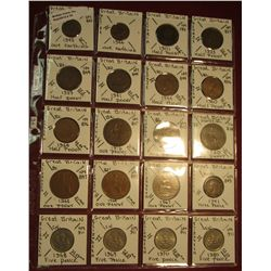 "34. (20) World Coins in 2"" x 2"" holders. All identified. Includes Great Britain Farthings, Half Penn"