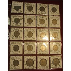 "36. (20) World Coins in 2"" x 2"" holders. All identified. Includes Great Britain Ten Pence, Shillings"