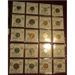 "37. (20) All BU or Unc World Coins in 2"" x 2"" holders. All identified. Includes Aruba, Australia, Au"