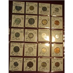 "40. (20) All BU or Unc World Coins in 2"" x 2"" holders. All identified. Includes India, Israel, Italy"