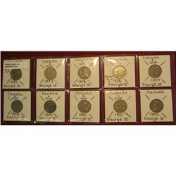 42. Canada Nickel Collection 1922, 23, 24, 26 Near 6, 27, 28, 29, 30, 31, & 32. All Fine or better.