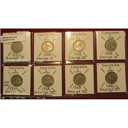 43. Canada Nickel Collection 1933, 34, 35, 36, 37, 38, 39, & 40. All Fine or better. Charlton Catalo