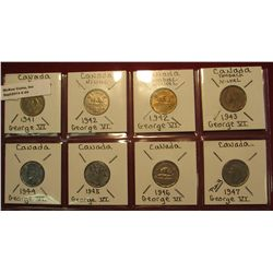 44. Canada Nickel Collection 1941, 42, 43, 44, 45, 46, & 47. All Fine to Unc. Charlton Catalog value