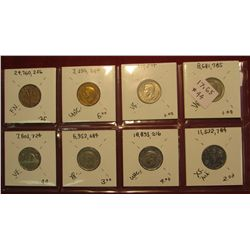 45. Canada Nickel Collection 1947 Maple Leaf, 1948, 49, 50, 51 Commemorative, 51 regular, 52, & 53.