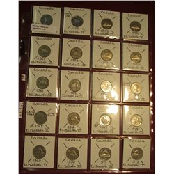 46. Canada Nickel Collection (20) Coins complete 1953-1972. Some BU. Charlton Catalog value $52.55.