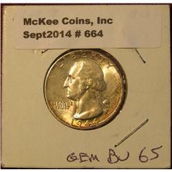 664. 1944 P Washington Quarter. Gem BU 65. Lite tone.