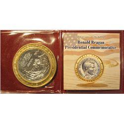 676.  1911-2004 The Great Communicator  Ronald Reagan Bi-metal Commemorative U.S. Medal.  Tear Down