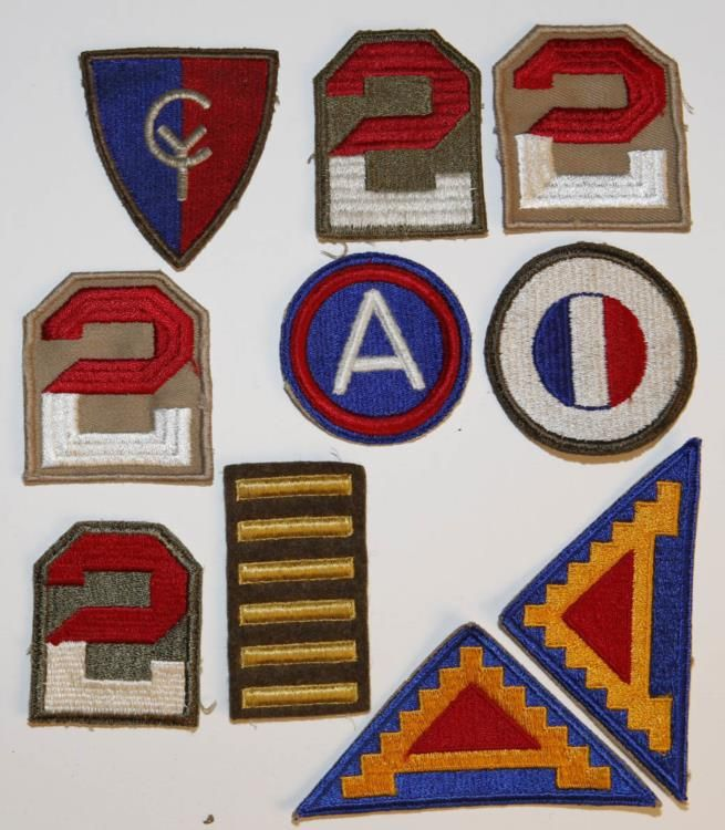 10 WWII PATCHES INCL-7th ARMY-2nd ARMY-38th DIV