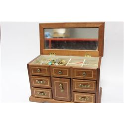 LARGE MUSICAL JEWELRY BOX WITH CONTENTS
