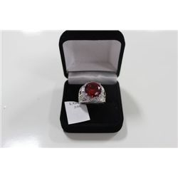 STAMPED .925 LAB RUBY RING ON CHOICE: SIZE 7