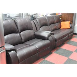 NEW BROWN LEATHER LOOK  RECLINING SOFA AND LOVE