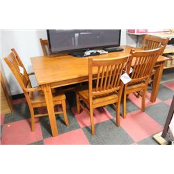 NEW WOOD TABLE W 4 SIDECHAIRS AND 2 ARMCHAIRS