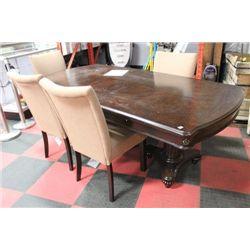 NEW DBL PEDESTAL TABLE W 4 FABRIC SIDECHAIRS