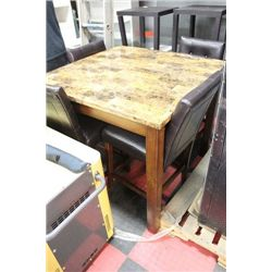 FAUX MARBLE PUB-STYLE TABLE W/ 4 LEATHER CHAIRS