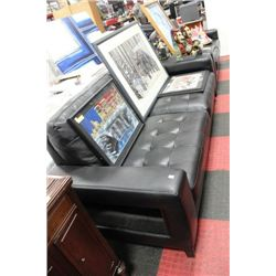 NEW BLACK LEATHER DESIGNER SOFA AND LOVE SEAT