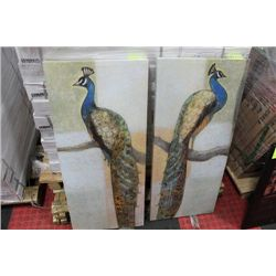 PAIR OF PEACOCK CANVAS PICTURES