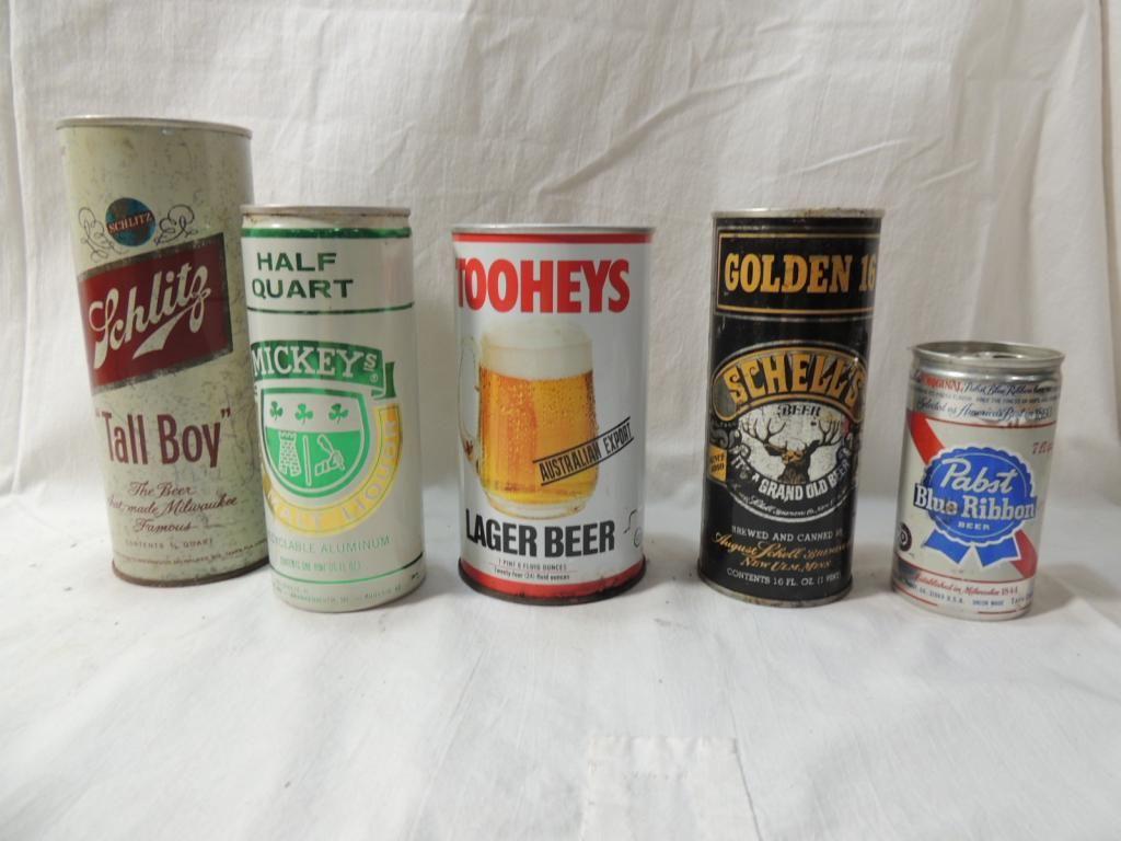 LOT 5 VINTAGE ASSORTED BEER CANS