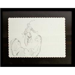 JOHN FASANO Original Fighting Monk Placemat Drawing
